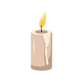 White candles with dripping wax and fire. Icon and decoration for the holiday, romantic dinner, birthday, halloween, valentine day