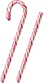 White candy canes with pink stripes over a white background