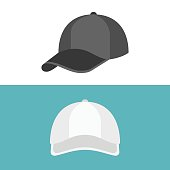 White Cap in front view and black cap in side view, flat design vector