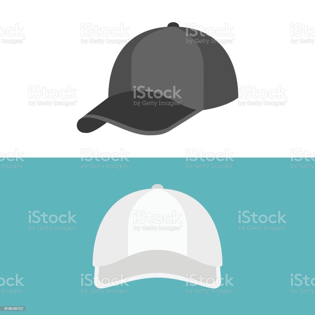 White Cap en frente se ven el vista y la tapa negra en el lado - ilustración de arte vectorial