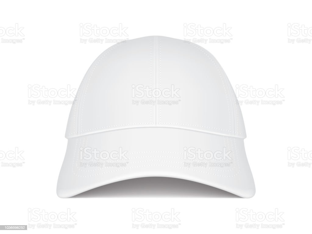1d7c8fabf01 White Cap On White Background Front View Vector Stock Vector Art ...