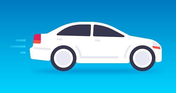 White Car Driving