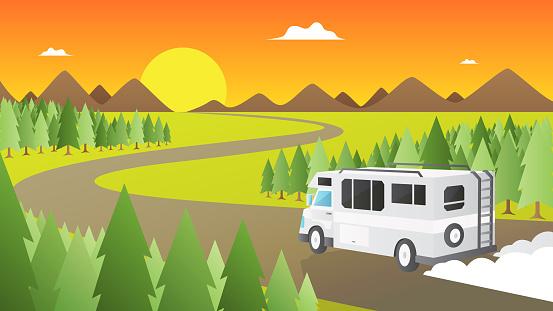 White Caravan on road