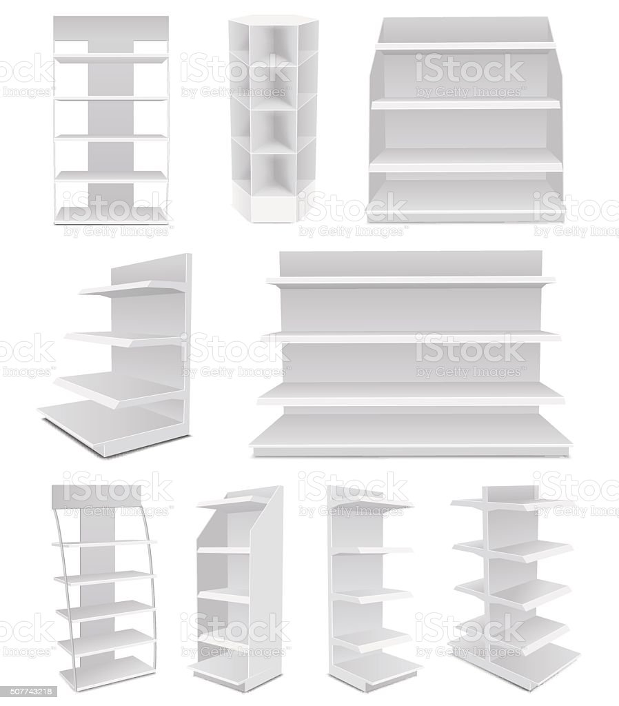 White Cardboard Blank Empty Displays vector art illustration