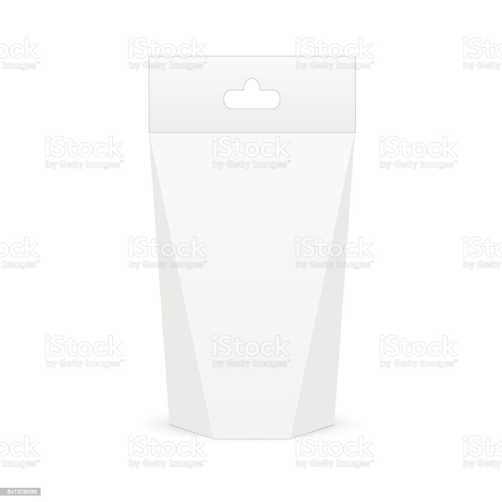 White cardboard carry box bag packaging for food, gift or other products with handle. Vector mock up template ready for your design. vector art illustration