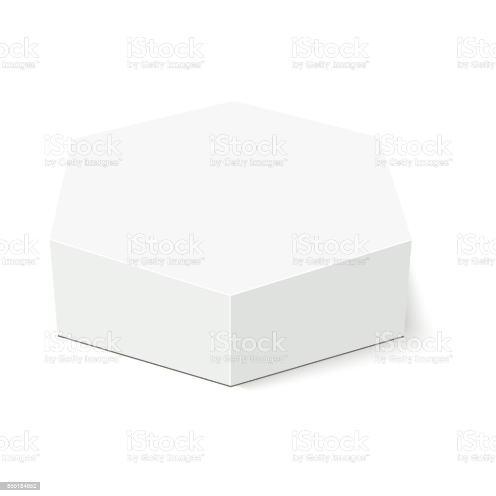 White Cardboard Hexagon Box Packaging Vector Mock Up Template Ready ...