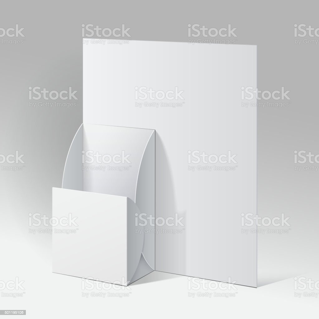 White Cardboard holder for brochures and flyers. vector art illustration