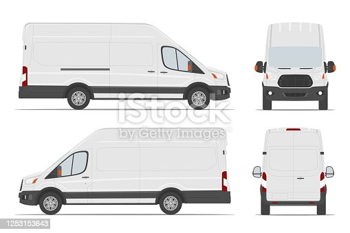 istock White cargo van car template in different angles. Vector illustration. 1253153643