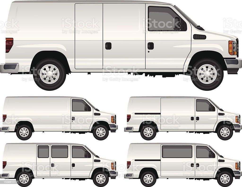 White Cargo Vans vector art illustration