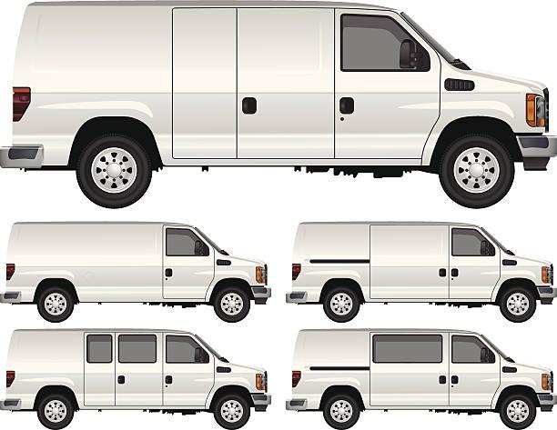 white transporter - vans stock-grafiken, -clipart, -cartoons und -symbole