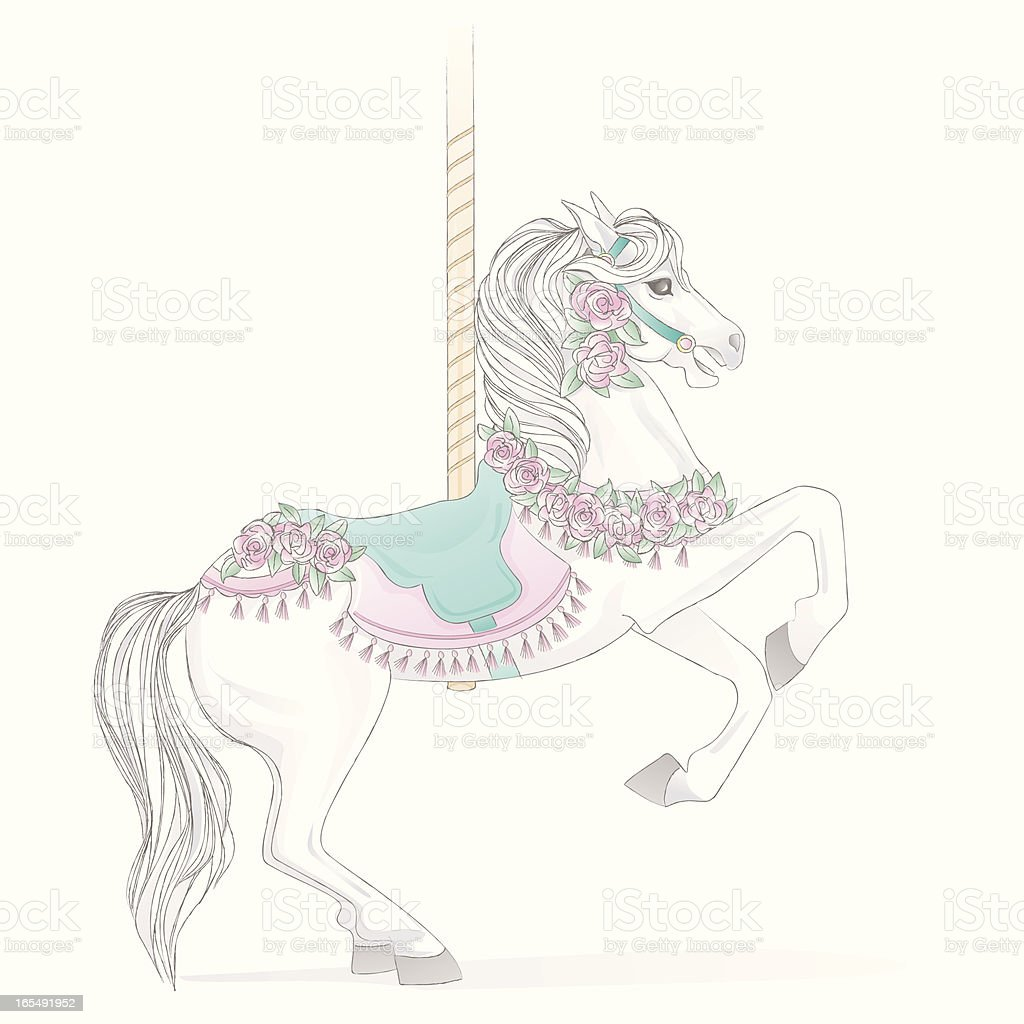 royalty free carousel horse clip art vector images illustrations rh istockphoto com Carousel Horse Clip Art Black and White pink carousel horse clipart