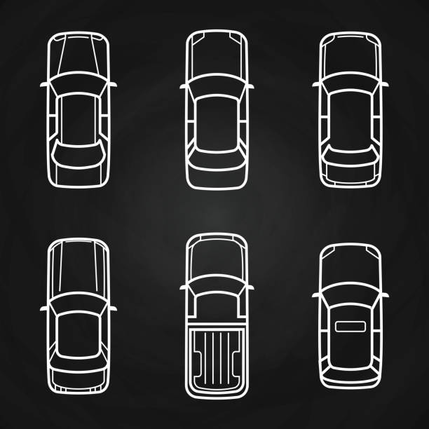 white cars template set - cars top view icons - панорамный stock illustrations