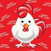 white cartoon Rooster, Symbol Happy New Year