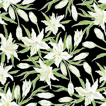 White Casa Blanca Oriental Lily. Seamless pattern of flowers, buds and leaves. Vector illustration.