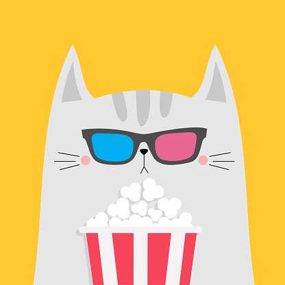 White cat and popcorn. Cinema theater. Cute cartoon funny character. Film show. Kitten watching movie in 3D glasses. Kids print for tshirt notebook cover. Yellow background. Isolated. Flat design