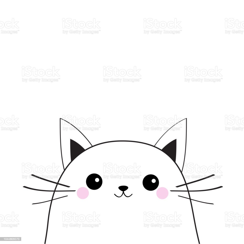 White Cat Face Contour Silhouette Kawaii Animal Cute Cartoon Kitty Character Funny Baby Kitten With Eyes Mustaches Nose Ears Love Greeting Card Flat Design White Background Isolated Stock Illustration Download Image