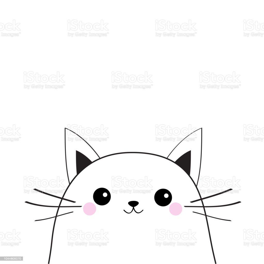 Vetores De Cara De Gato Branco Silhueta De Contorno Kawaii Animal
