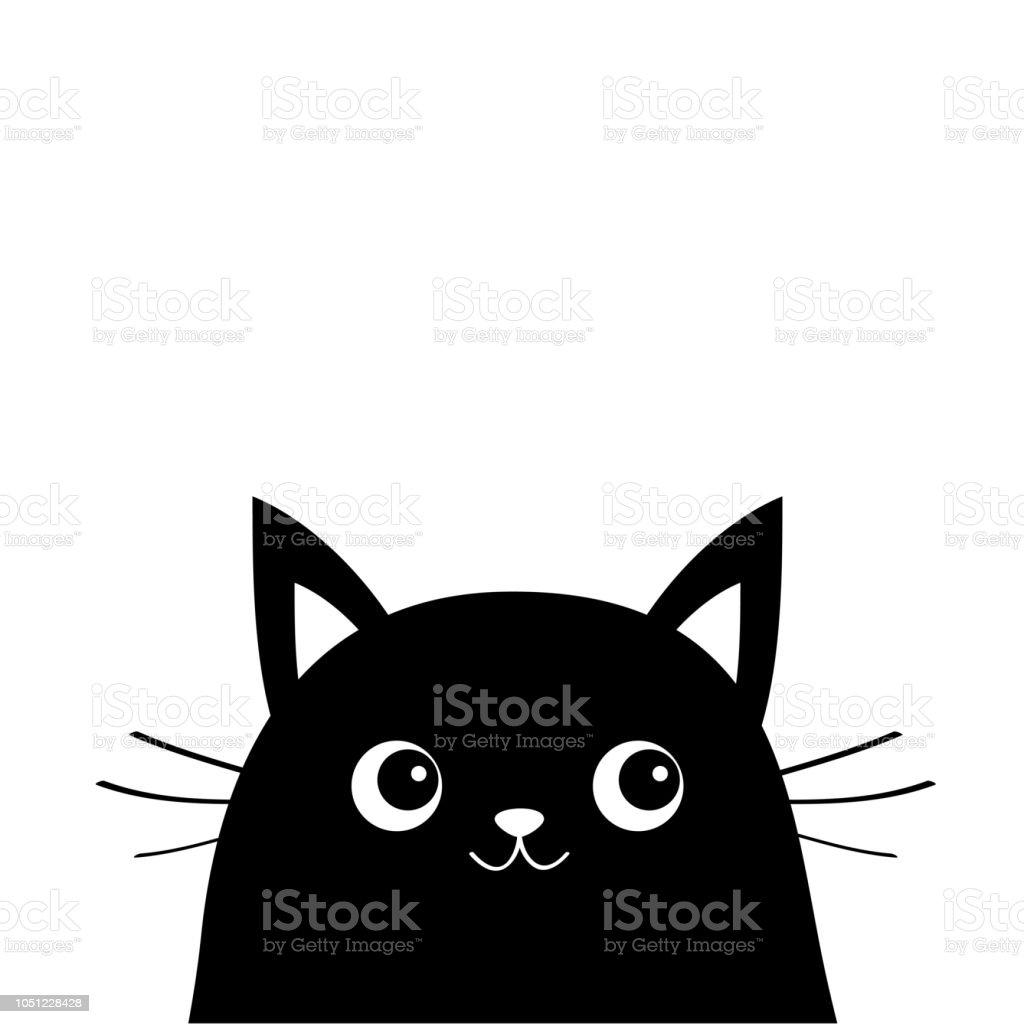 Silhouette De Chat Blanc De Visage Kawaii Animal Personnage