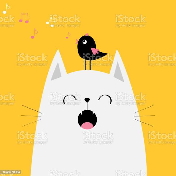 White cat face silhouette meowing singing song bird on head music vector id1048770984?b=1&k=6&m=1048770984&s=612x612&h=jf9shv6p 71gvtbwmqy1tgu9ppuobxvbucoqozjtwra=