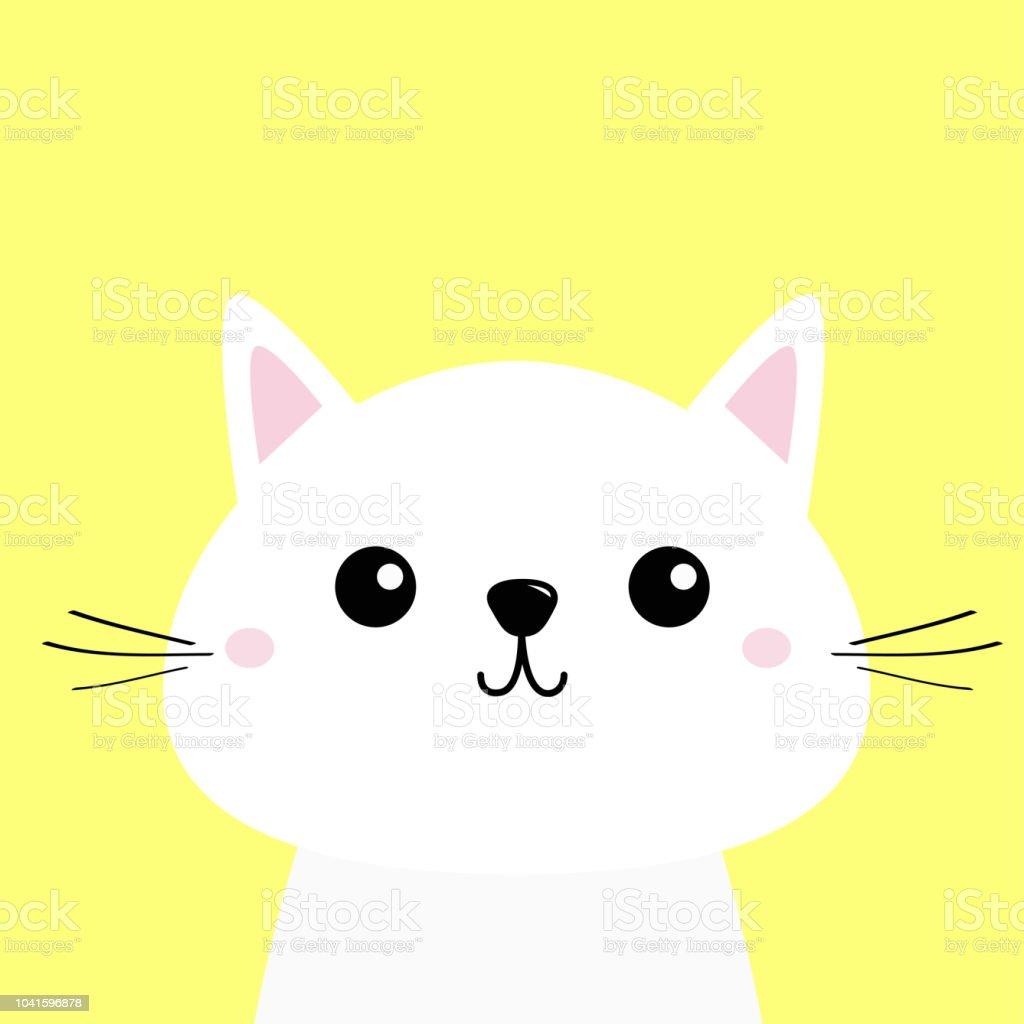 ilustração de rosto de bebê cabeça engraçado gatinho gato branco