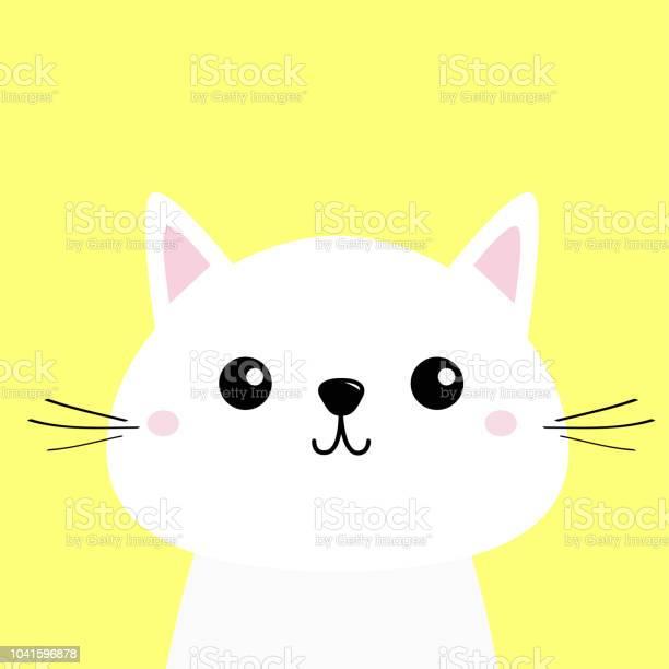 White cat kitten funny head baby face moustaches cute kawaii cartoon vector id1041596878?b=1&k=6&m=1041596878&s=612x612&h=h6dktuyeaqe0fcbgxxat iji6lyjwdj qxaugzvjj9i=