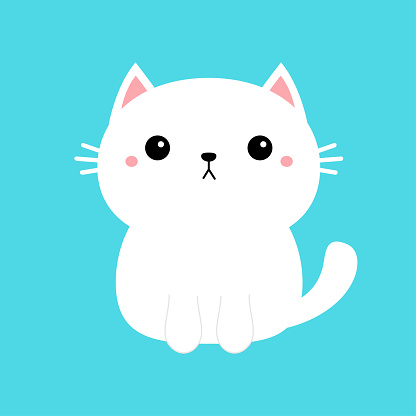White cat kitten kitty icon. Cute kawaii cartoon character. Funny sad face. Happy Valentines Day. Pink cheeks. Baby greeting card tshirt template. Blue background. Isolated. Flat design.