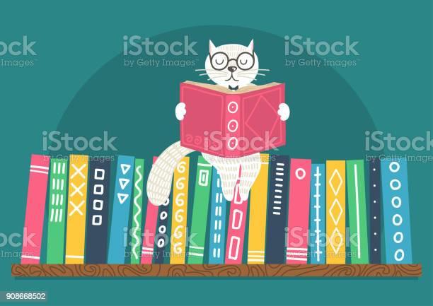 White cat reading book on bookshelf vector id908668502?b=1&k=6&m=908668502&s=612x612&h=ypp227yzcrahgkmsccdtldvjvtuifh2i8pmrmunzwro=