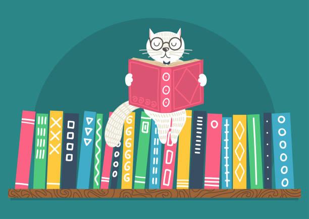 White cat reading book on bookshelf. vector art illustration