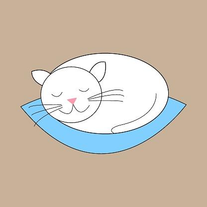 White cat sleeping on a blue cushion. Vector illustration.