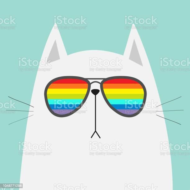 White cat wearing sunglasses eyeglasses rainbow color lenses lgbt vector id1048771256?b=1&k=6&m=1048771256&s=612x612&h=h8klnd2n3frna61n1cv9rcfke73qa4lj9y6viull6zm=