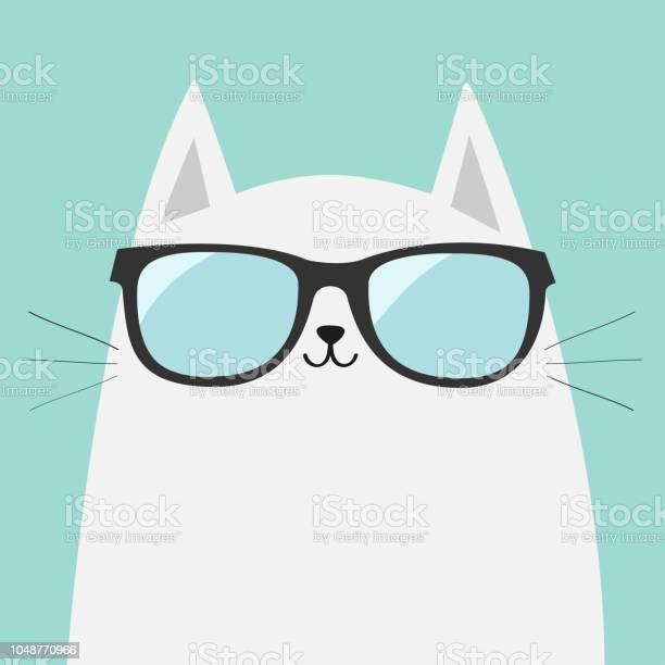 White cat wearing sunglasses eyeglasses shining lenses cute cartoon vector id1048770966?b=1&k=6&m=1048770966&s=612x612&h=b4a bmmwhy1kjjsoai2pyekjhjq2wkemvvrybtw8qha=