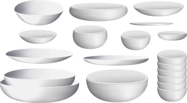 white ceramic bowl and dishes vector art illustration