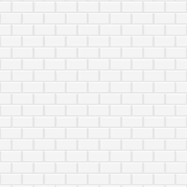 White ceramic brick wall vector art illustration