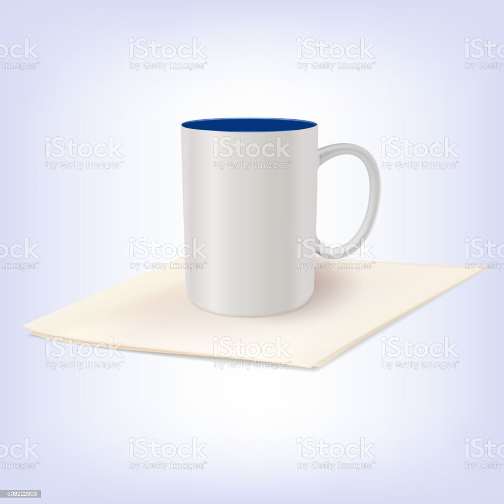 White ceramic cup standing on a napkin. vector art illustration