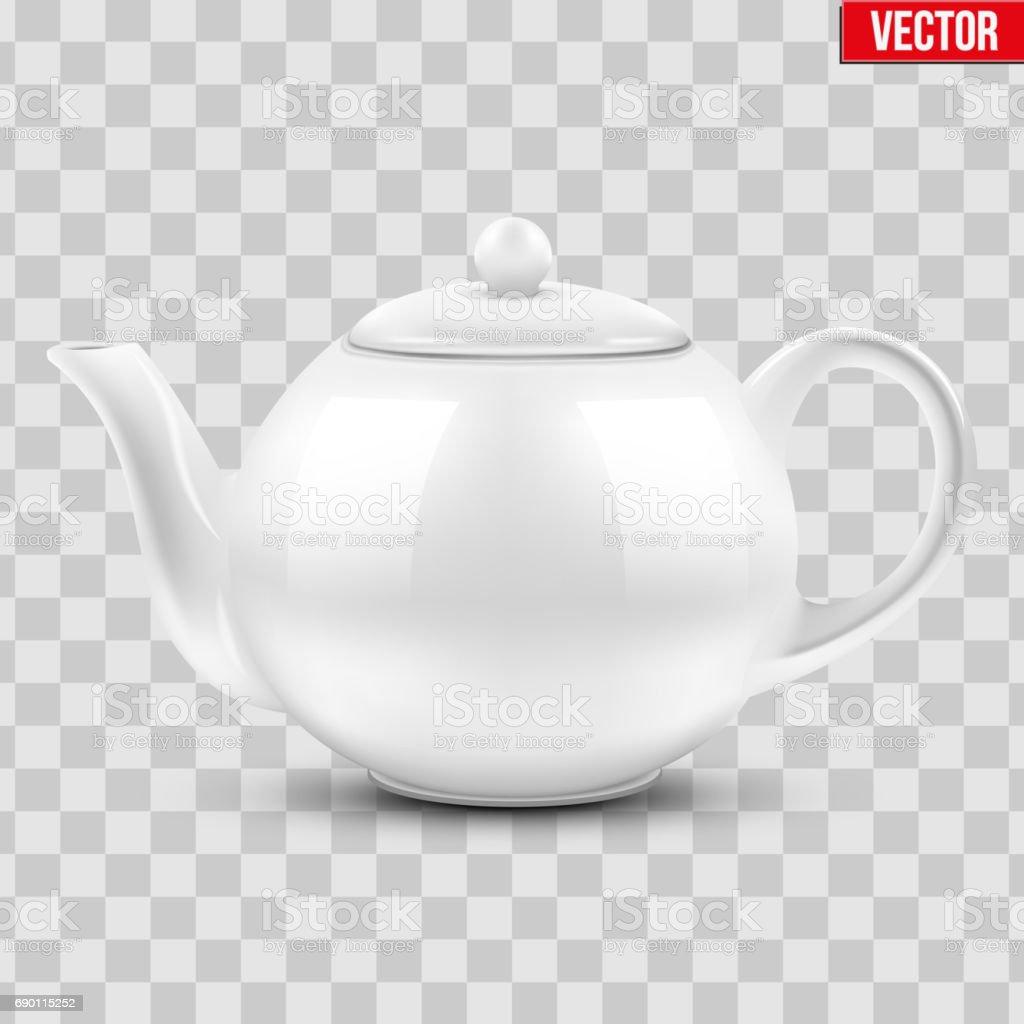 White ceramic teapot. vector art illustration