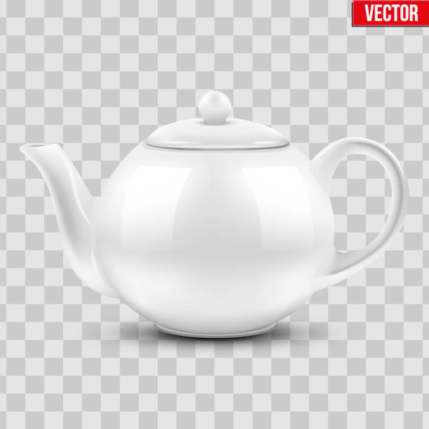 White ceramic teapot. White ceramic teapot. Vector illustration Isolated of transparent background. teapot stock illustrations