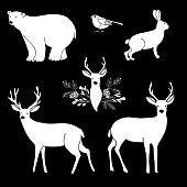 White chalk animals. Cute polar bear and reindeer. Vector illustrations.