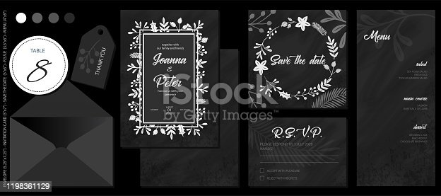 White Chalk Drawing Spring Flowers and Leaves with Blackboard Background, Wedding Invitation Template Set. Table Number&Thank You Labels, Invitation Card, Save The Date Card, R.S.V.P. Card and Menu. Elegant Design Elements for Your Special Day.(See the size info on the left)