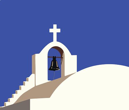 white chapel at Santorini Greece vector