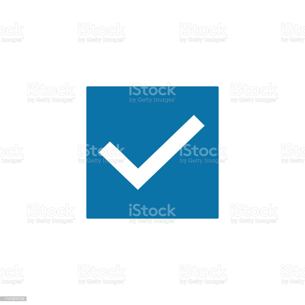 White Check Mark Icon In A Blue Box Tick Symbol Vector Illustration