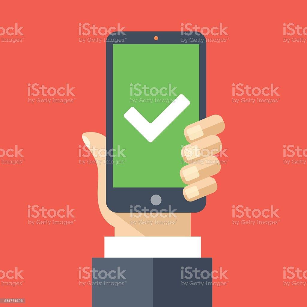 White checkmark on green smartphone screen. Flat design vector illustration vector art illustration