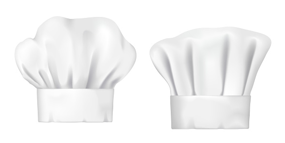 White chef hat and baker toque realistic 3d