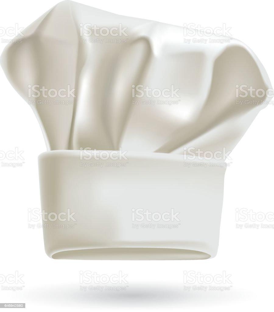 White chef hat. Photorealistic vector illustration
