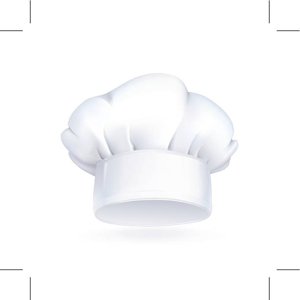White chefs hat icon on white background Chef hat icon. Eps10 vector illustration contains transparency and blending effects. chef's hat stock illustrations