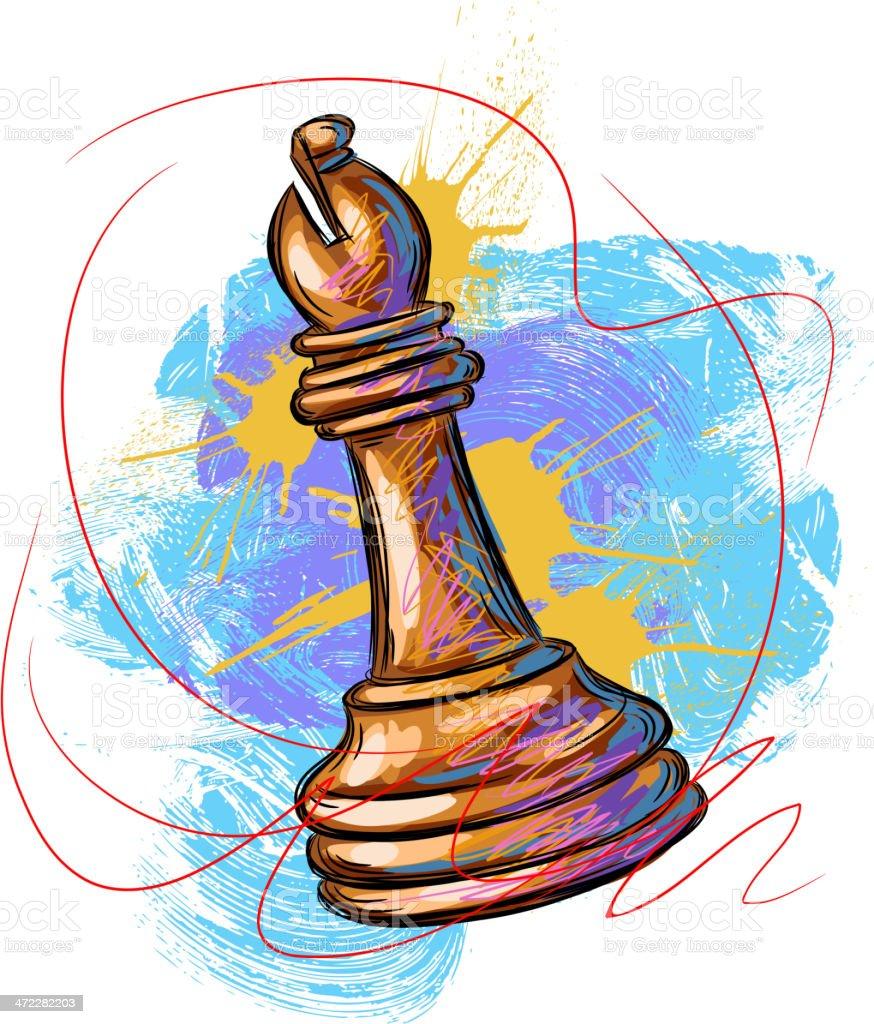 White Chess Bishop vector art illustration