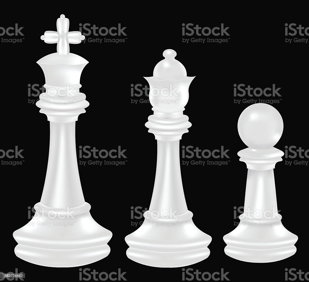 White Chess Piece King Queen And Pawn Stock Vector Art ...