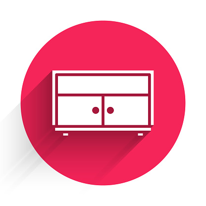 White Chest of drawers icon isolated with long shadow. Red circle button. Vector Illustration