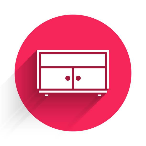 bildbanksillustrationer, clip art samt tecknat material och ikoner med vit byrå ikonen isolerad med lång skugga. röd cirkel-knapp. illustration av vektor - wood sign isolated