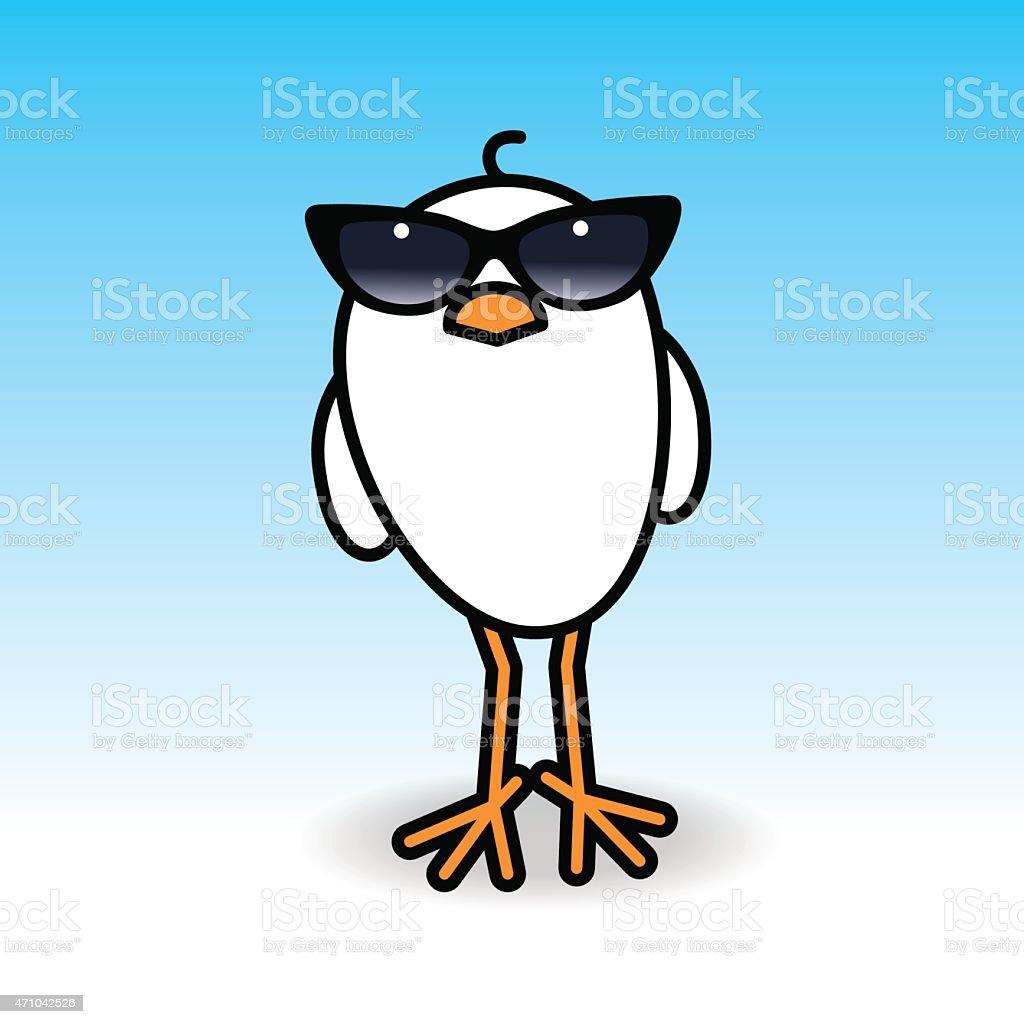 Bianco Pulcino Indossando Ladies Nero Occhiali Da Sole Guardare