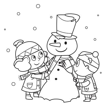 White, Children making a snowman